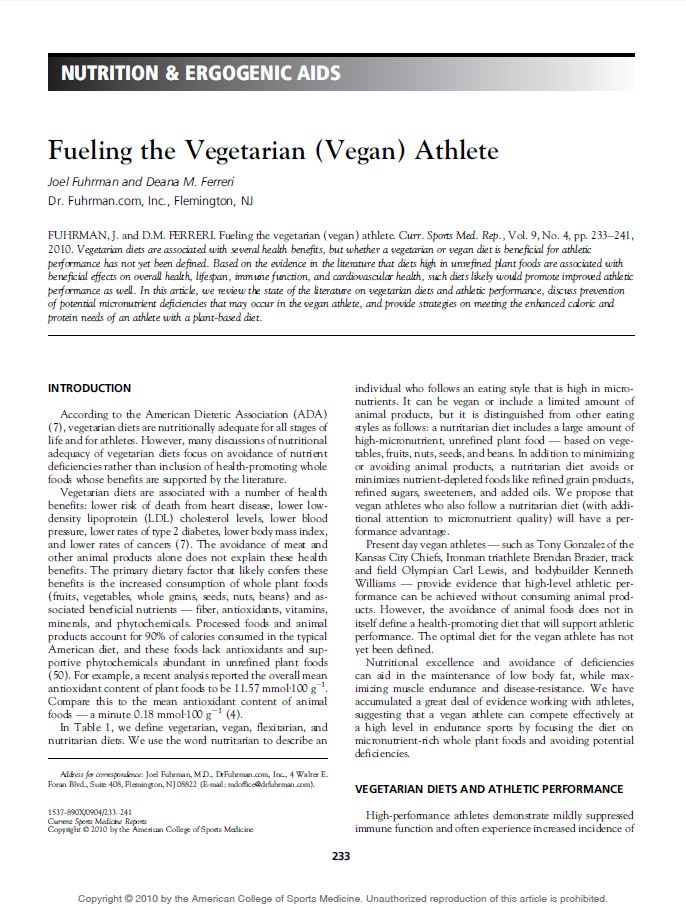 Fueling the vegan athlete