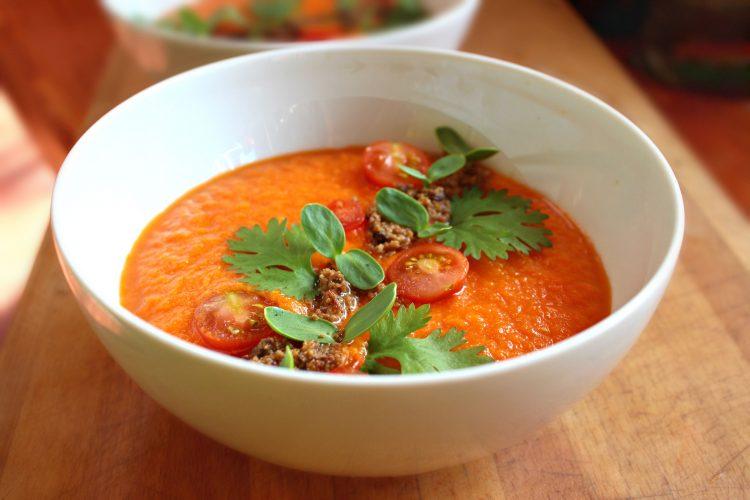 soupe crue à la courge musquée en mode gazpacho